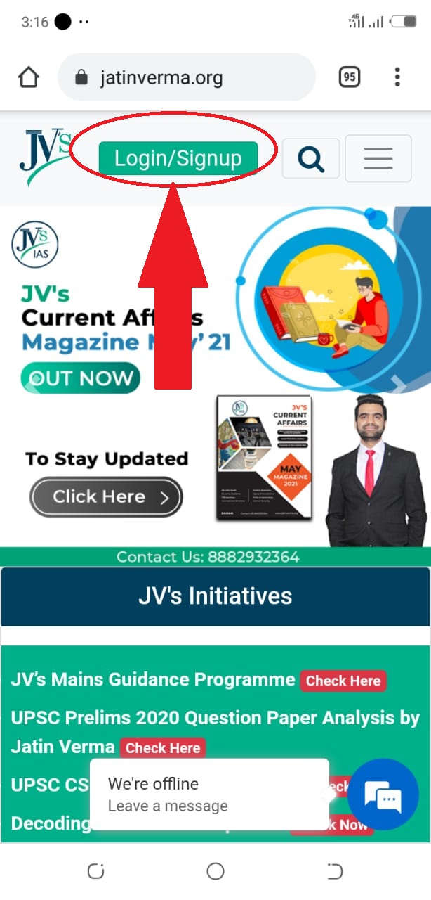 Login into your JV's User Account