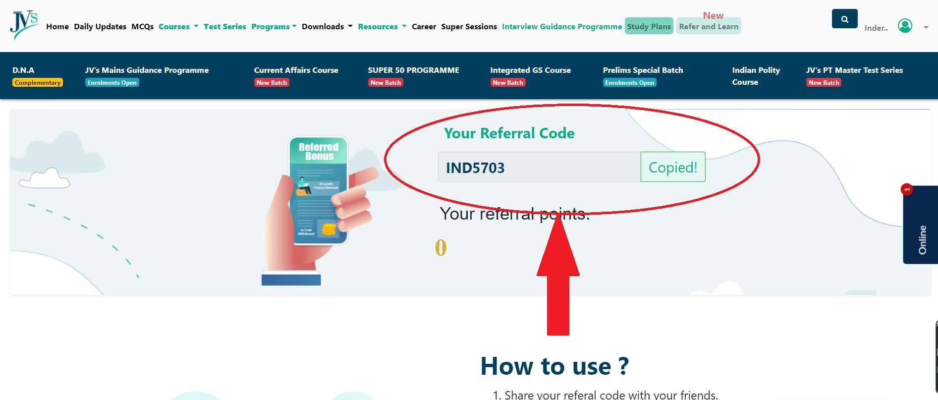 Copy your Referral Code
